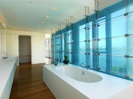 Hugh Jackman: Hace algunos años, el actor australiano adquirió un departamento de tres pisos, de casi 3.500 metros cuadrados, en New York, por lo que pagó 21 millones de dólares.  El baño tiene un estilo muy minimalista, todo blanco con grandes ventanales que dan a una vista fabulosa.