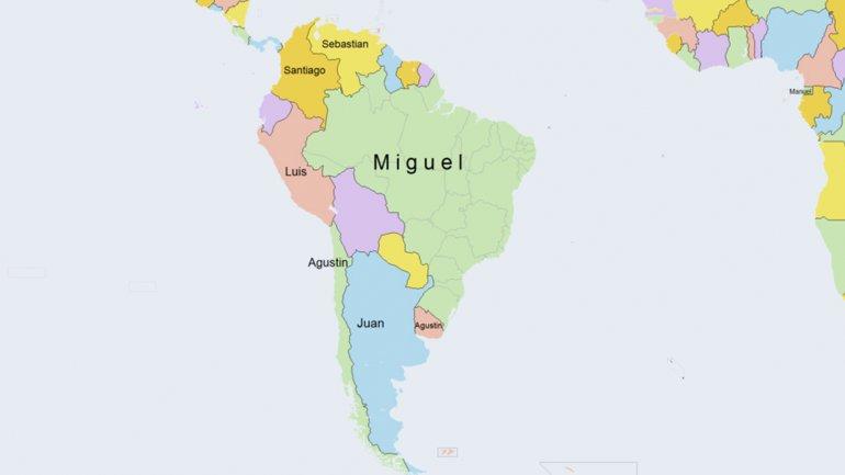 Mapa Latinoamericano de nombres masculinos