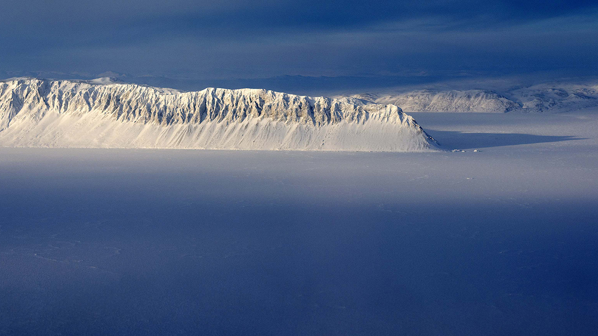 Eureka Sound on Ellesmere Island in the Canadian Arctic is seen in a NASA Operation IceBridge survey picture
