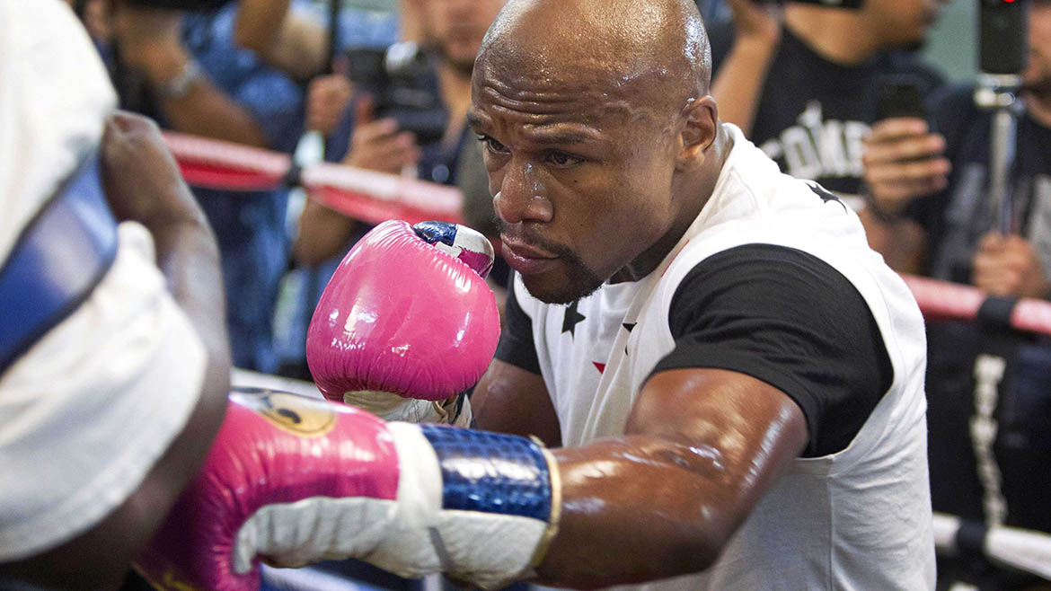 WBC welterweight champion Floyd Mayweather Jr. of the U.S. works out at the Mayweather Boxing Club in Las Vegas