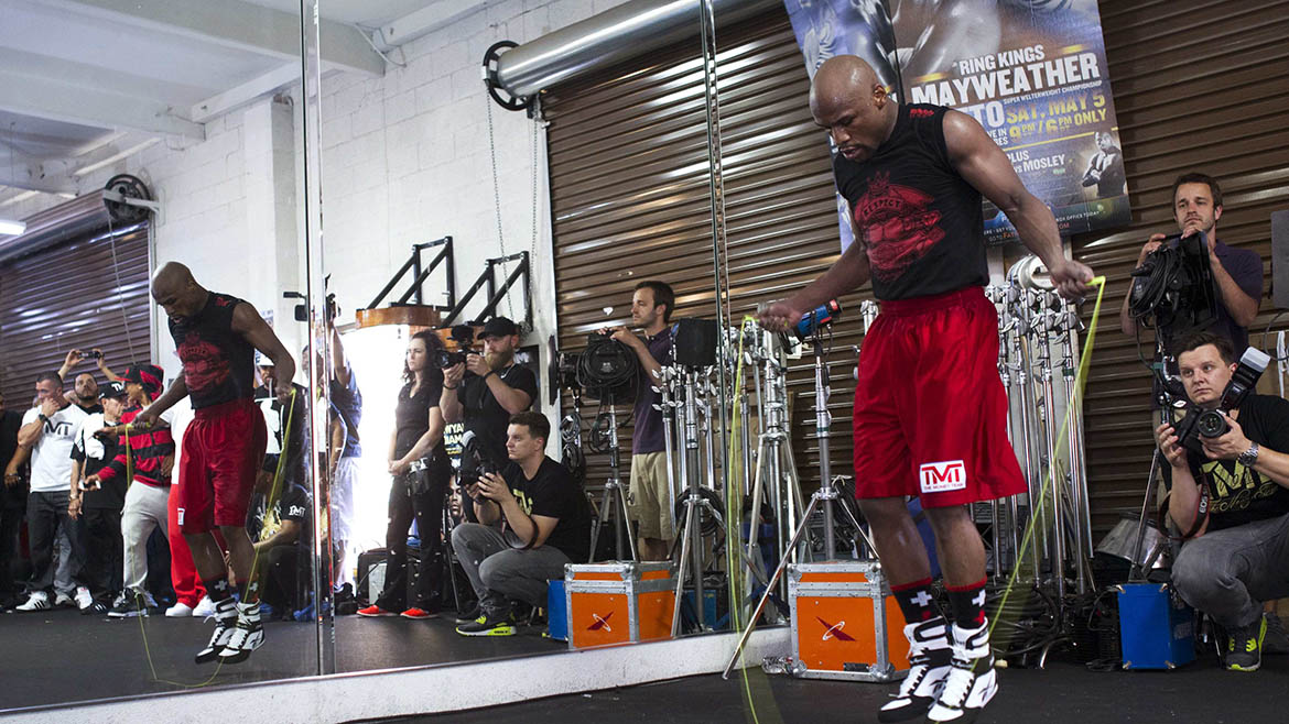 WBC welterweight champion Floyd Mayweather Jr. of the U.S. jumps rope during a media workout at the Mayweather Boxing Club in Las Vegas