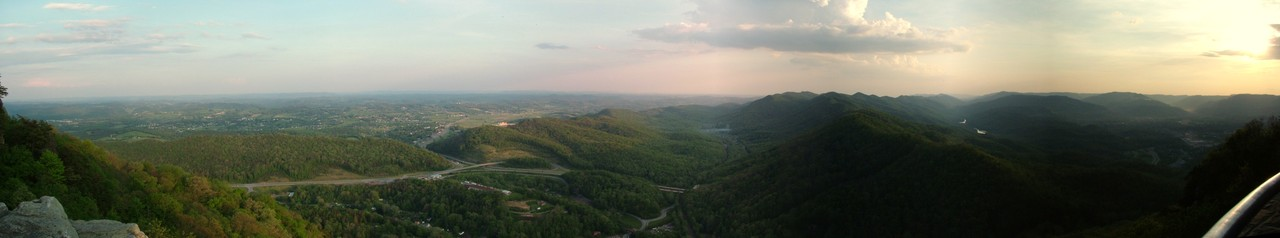 The view from Pinnacle Overlook near sunset at Cumberland Gap