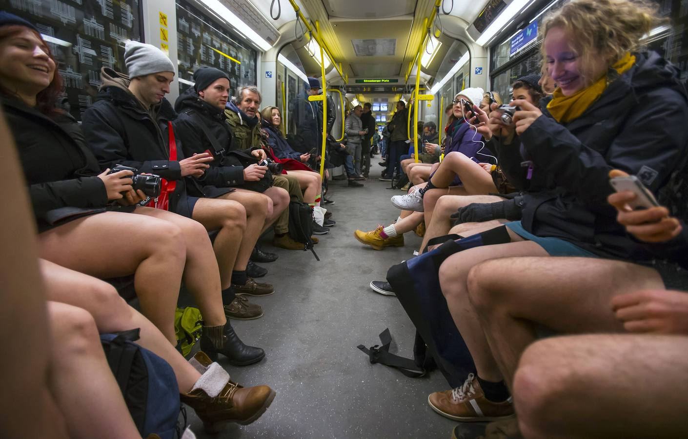 People take part in the No Pants Subway Ride in Berlin