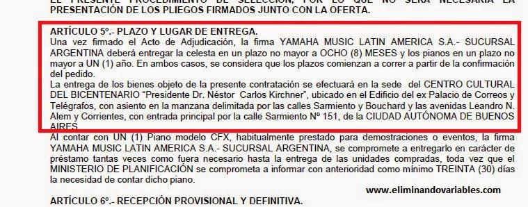 Más detalles de la contratación directa por los pianos. Gentileza: (Eliminando Variables)