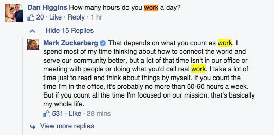 horas trabaja zuckerberg