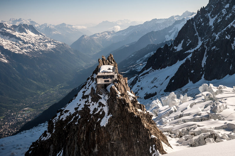 The Grands Mulets hut, gateway to Mont Blanc during the ski season.