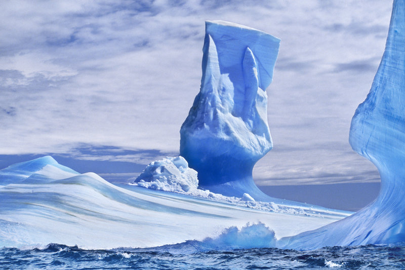 Iceberg in pillar formation with a thin base, on South Georgia Island.