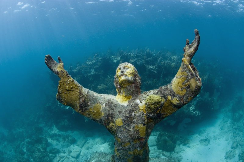 Statue of Christ of the Abyss, Key Largo, Florida.