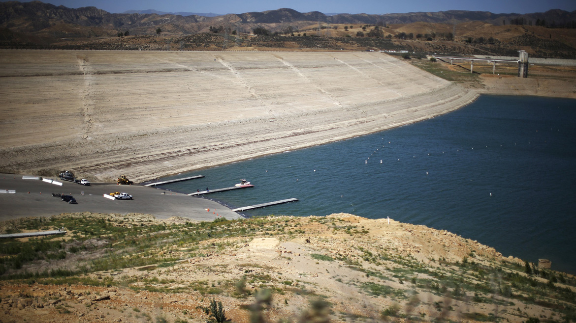 Castaic Lake reservoir where the water receded is viewed from its previous water level, in Castaic