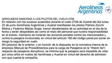 Aerolíneas-comunicado-Vicky-Xipolitakis