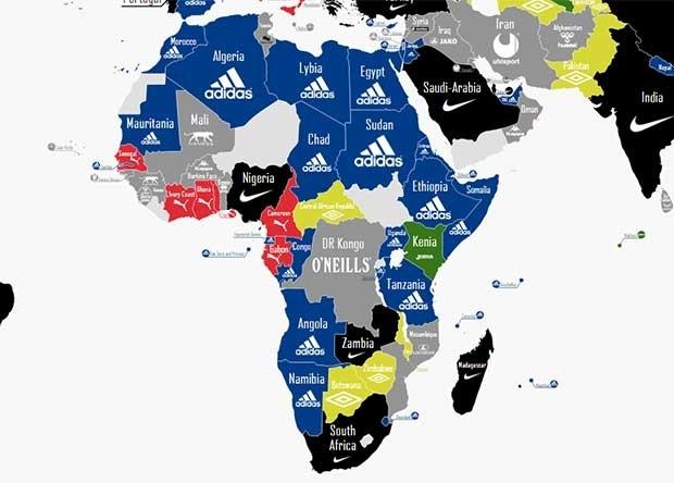 Treinta Brote Pino  Así es el mapa mundial de las marcas que visten a las selecciones | Nexofin