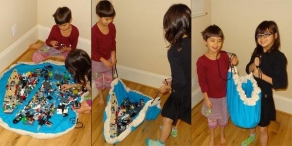 Alfombra para guardar juguetes y que no queden esparcidos por la casa