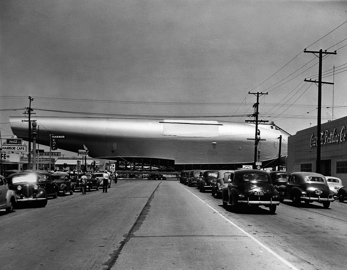 Howard Hughes Flying Boat Crossing Highway Intersection