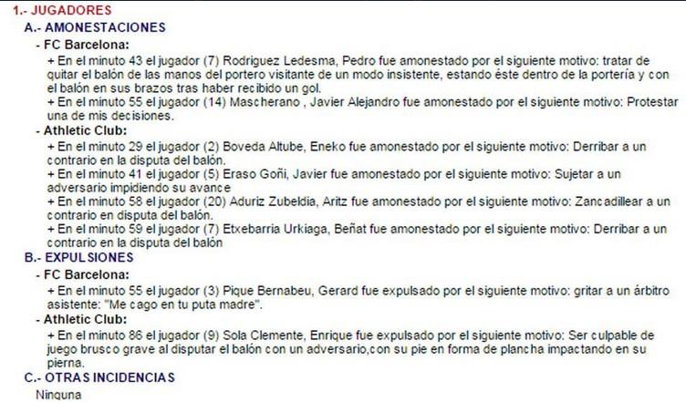 informe del arbitro, barcelona vs bilabao