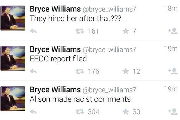 Los últimos tuits de Bryce Williams, donde acusaba a la periodista de hacer comentarios racistas