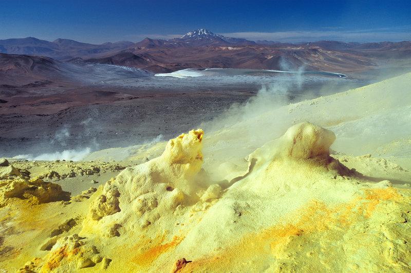Sulfur fumaroles of Lastarria volcano