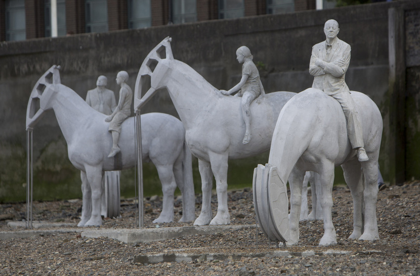 'The Rising Tide' Horse sculptures by artist Jason deCaires Taylor in the Thames, London, Britain - 03 Sep 2015