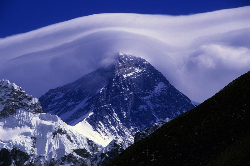 Jet stream soars across the summit of Mt. Everest, Sagarmatha National Park, Nepal.