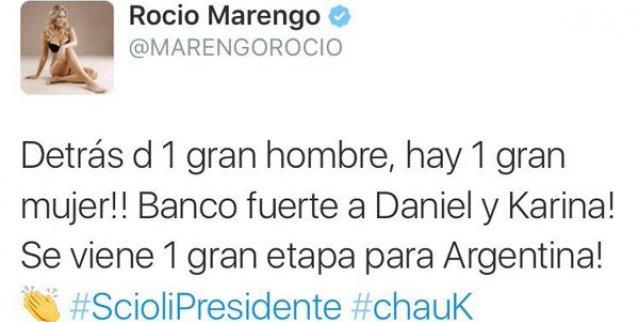 Tuit de Rocío Marengo