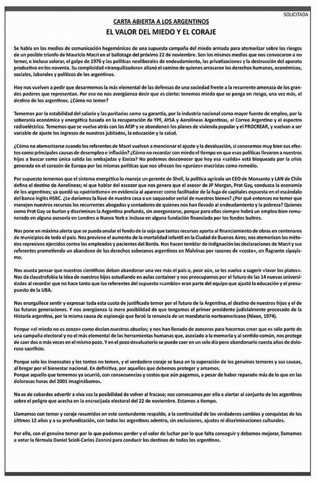 carta apoyo a Scioli