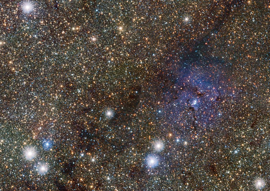 Zonas centrales de la Vía Láctea y la nebulosa Trífida