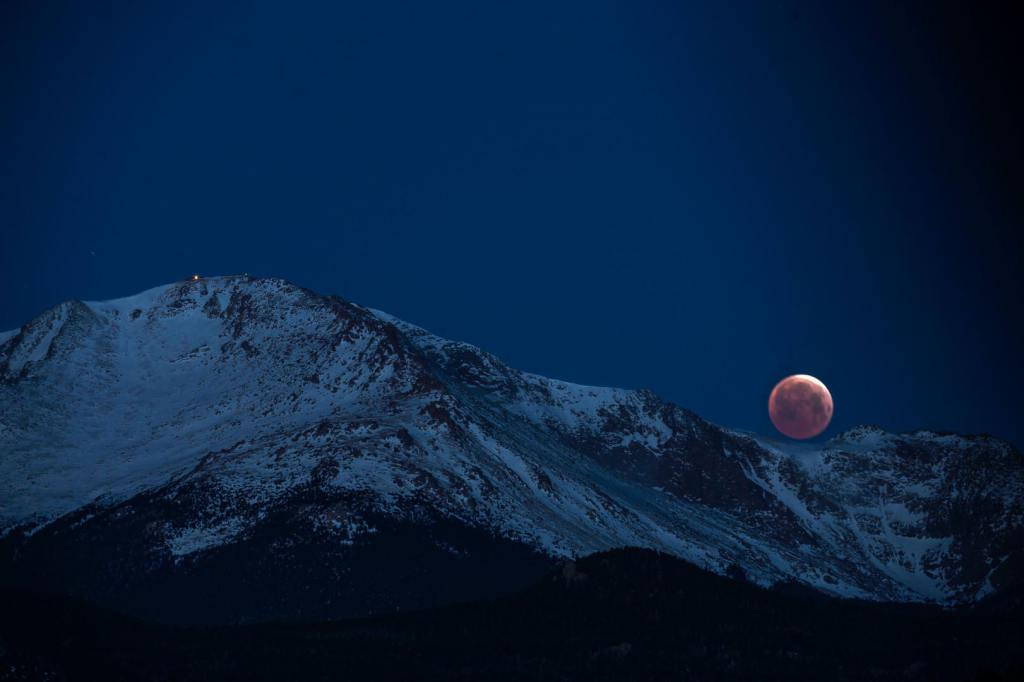 Blood moon over Pike Peak Colorado Springs