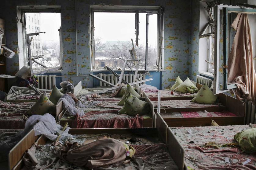Un jardín de infantes bombardeado en Ucrania