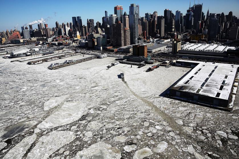 Hielo en Río Hudson, Manhattan