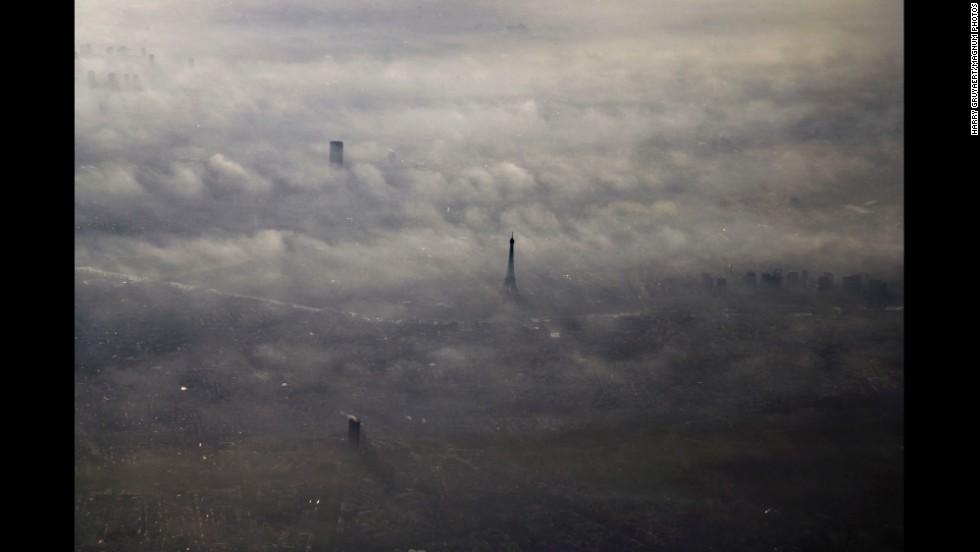 FRANCE. Paris. 2005. Aerial view of Paris in morning fog.
