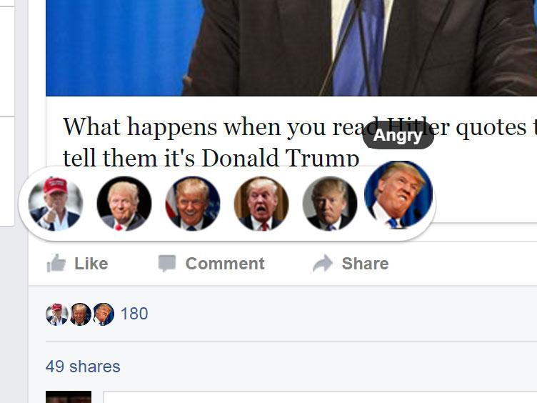 facebook reactions trump