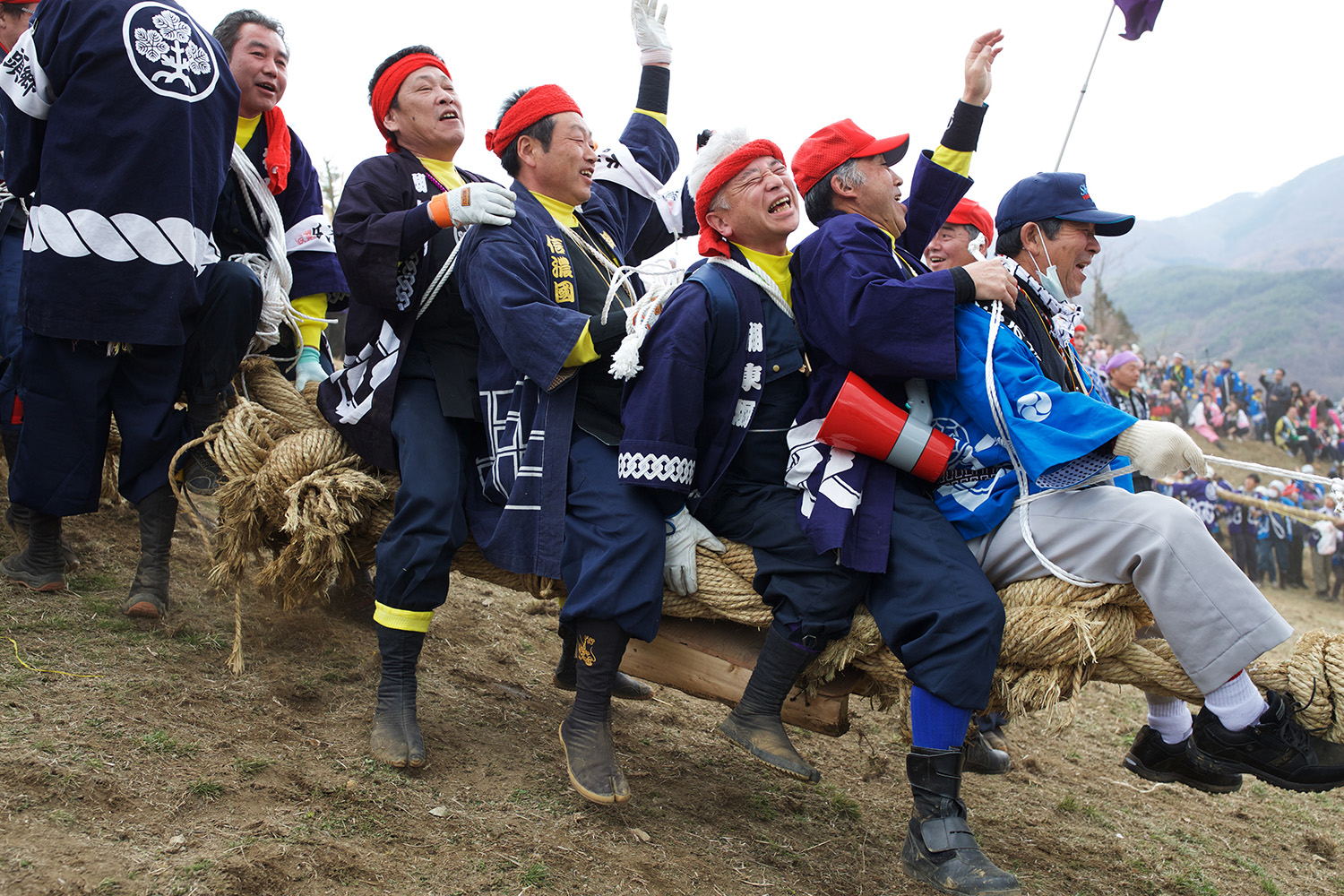 Log Riding during Onbashira Upper Shrine (Kamisha) http://onbashirafestival.com