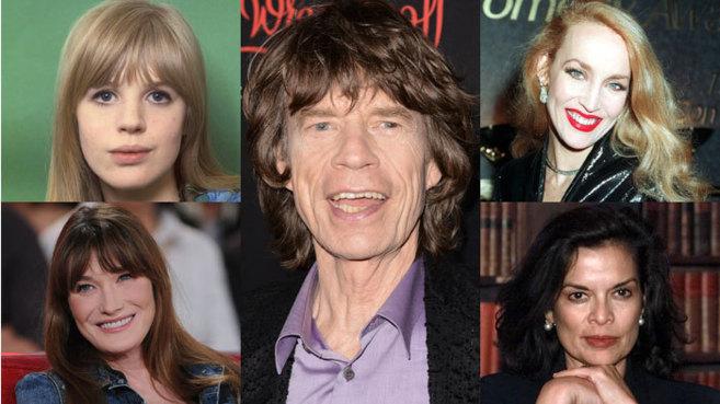De izq. a dcha. y de arriba abajo, las amantes de Mick Jagger -en el centro de la imagen-: Marianne Faithfull -junto a ella vivió cuatro años de drogadicción y frenesí; Jerry Hall -su segunda mujer, con la que estuvo casi una década, en la que le fue infiel a menudo-; Carla Bruni -se la robó a su amigo Eric Clapton-, y Bianca Jagger -la primera esposa de la estrella