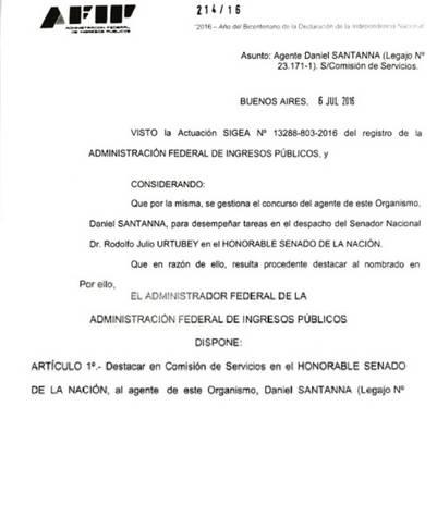 La resolución de la AFIP que aprueba el pase a comisión de Daniel Santanna al bloque del PJ en el Senado.