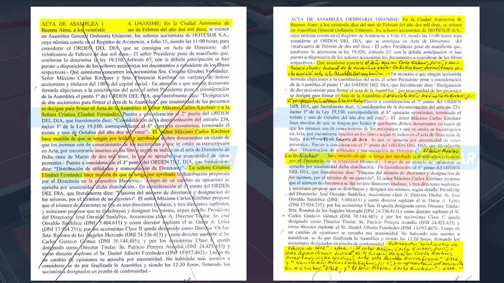 Páginas 25 y 27 de las actas del 26 de febrero de 2012.