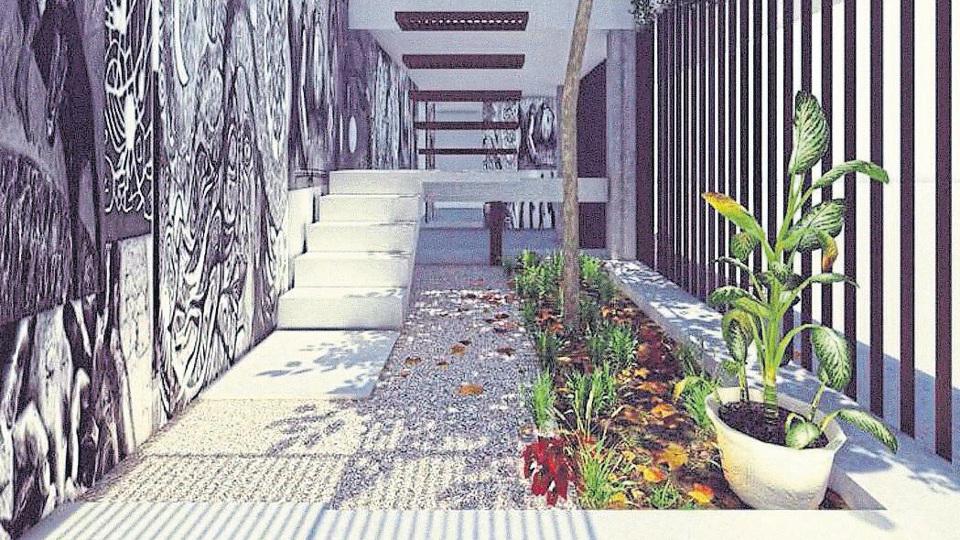 Así quedará el hall de ingreso de la Casa de la Cultura de la villa 31