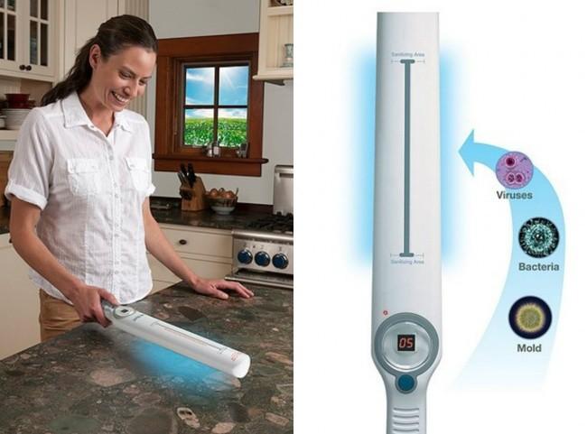 Un dispositivo con lámpara ultravioleta permite acabar con los microbios en la cocina.