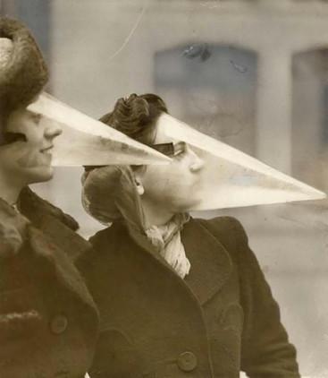 Estos conos faciales fueron diseñados en Canadá para proteger la cara durante las tormentas de nieve (1939).