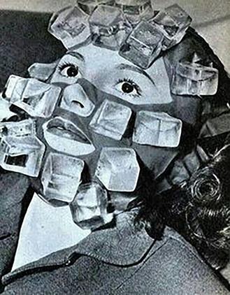 Esta máscara de cubitos de hielo servía para curar las resacas y tener un buen aspecto el día después de una buena juerga (1947).