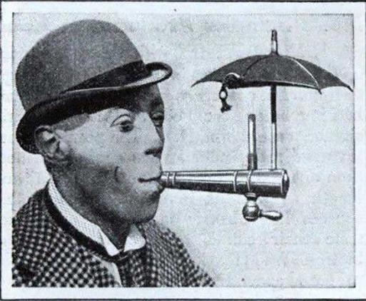 La lluvia no era un problema para los fumadores con este extraño dispositivo (1931).