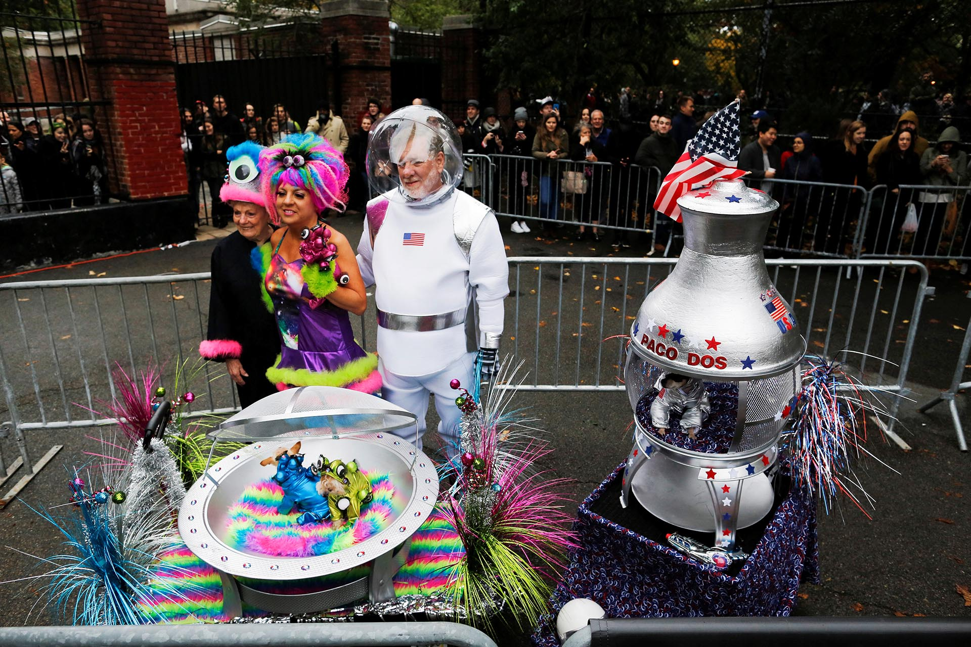 Revellers take part in the annual halloween dog parade at Manhattan's Tompkins Square Park in New York
