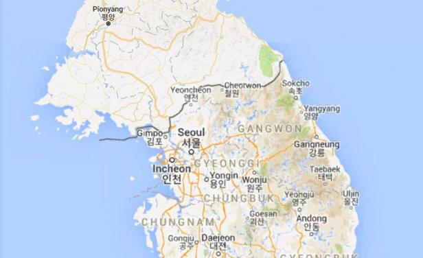 Las fronteras entre las dos coreas sigue trayendo problemas. Foto: Google Maps