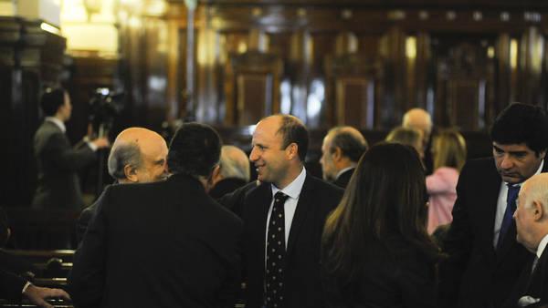 Los camaristas de Casación Mariano Borinsky y Alejandro Slokar, durante la jura del juez de la Corte Carlos Rosenkrantz en agosto