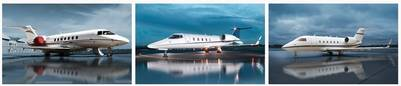 Los aviones que usaban Scioli de la empresa de Carmona. Un Leat Jet, un Challenger 601 y un Hawker 4000.