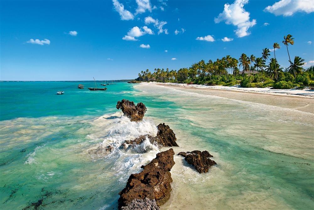 Matemwe Beach. Zanzíbar (Tanzania): una larga línea de palmeras sombreando la arena blanca es la imagen característica de Matemwe Beach, en el nordeste de Zanzíbar.