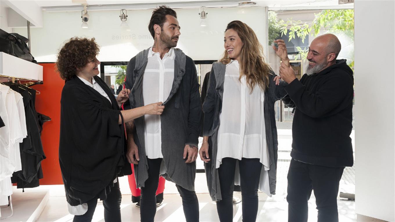 Camila Milessi (izq.) y Emiliano Blanco (der.), de Kostüme, hacen prendas unisex.