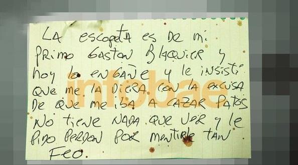 La primer carta escrita por Blaquier.