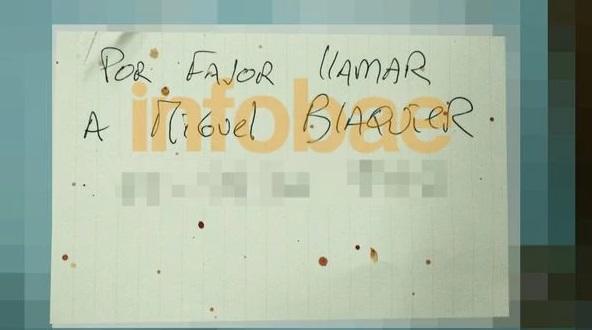 La tercer nota dejada por el empresario, con el número de su primo y mejor amigo.