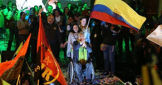Moreno, junto a su mujer, celebró el triunfo en Quito