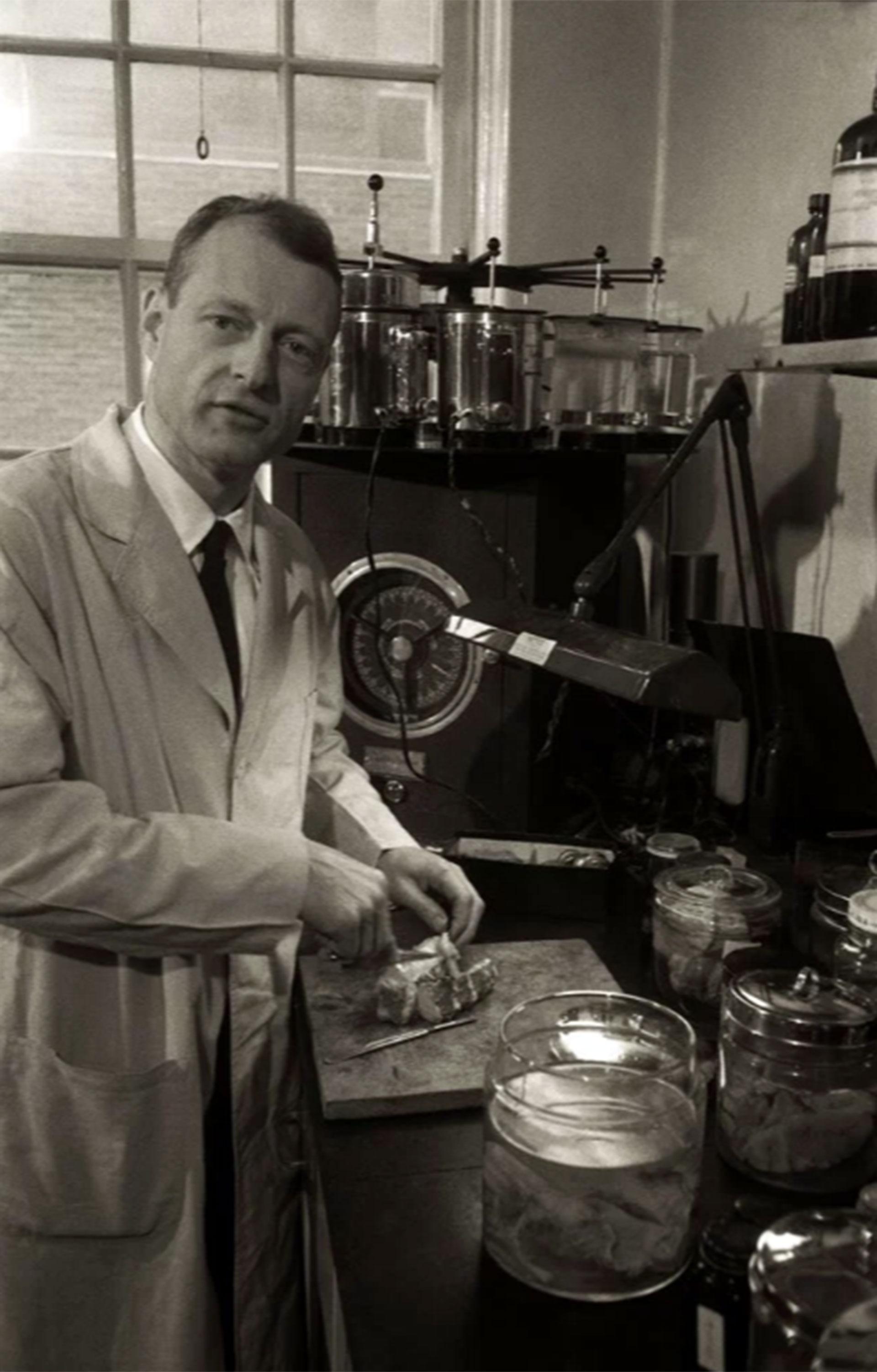 El doctor Thomas Harvey muestra a Ralph Morse cómo disecciona lo que sería el cerebro de Albert Einstein para su estudio.