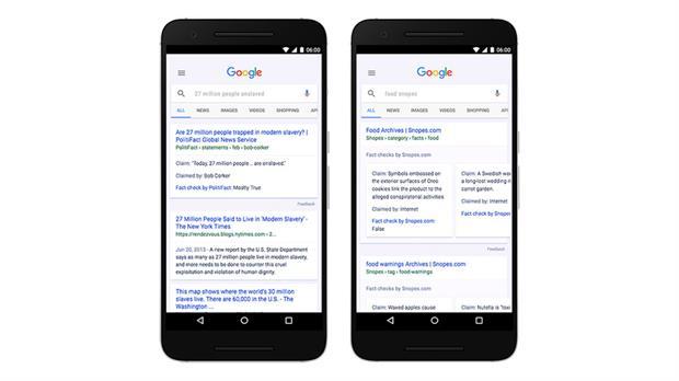 Así se verán los resultados del buscador Google con el sistema de verificación de noticias.
